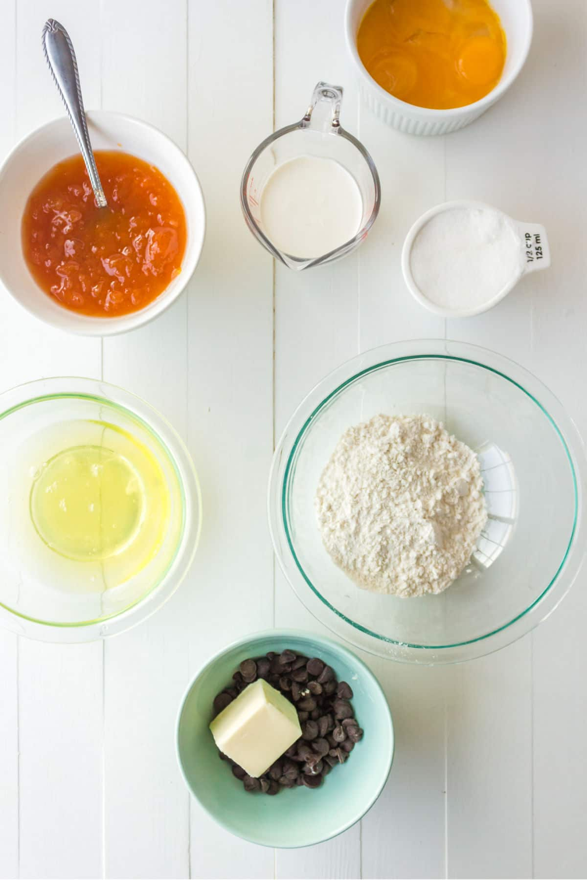 sacher torte ingredients in bowls