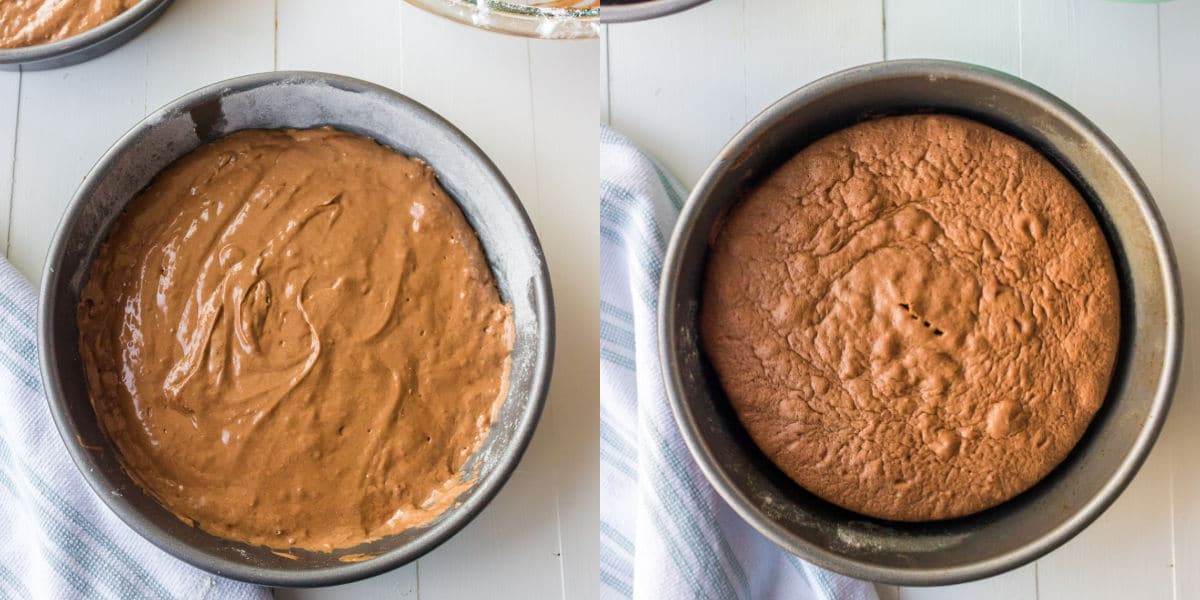 Unbaked sacher torte cake in an cake pan