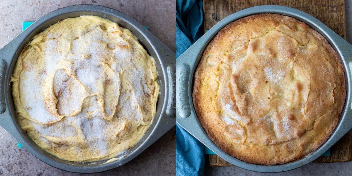 Unbaked apricot cake in a round cake pan.