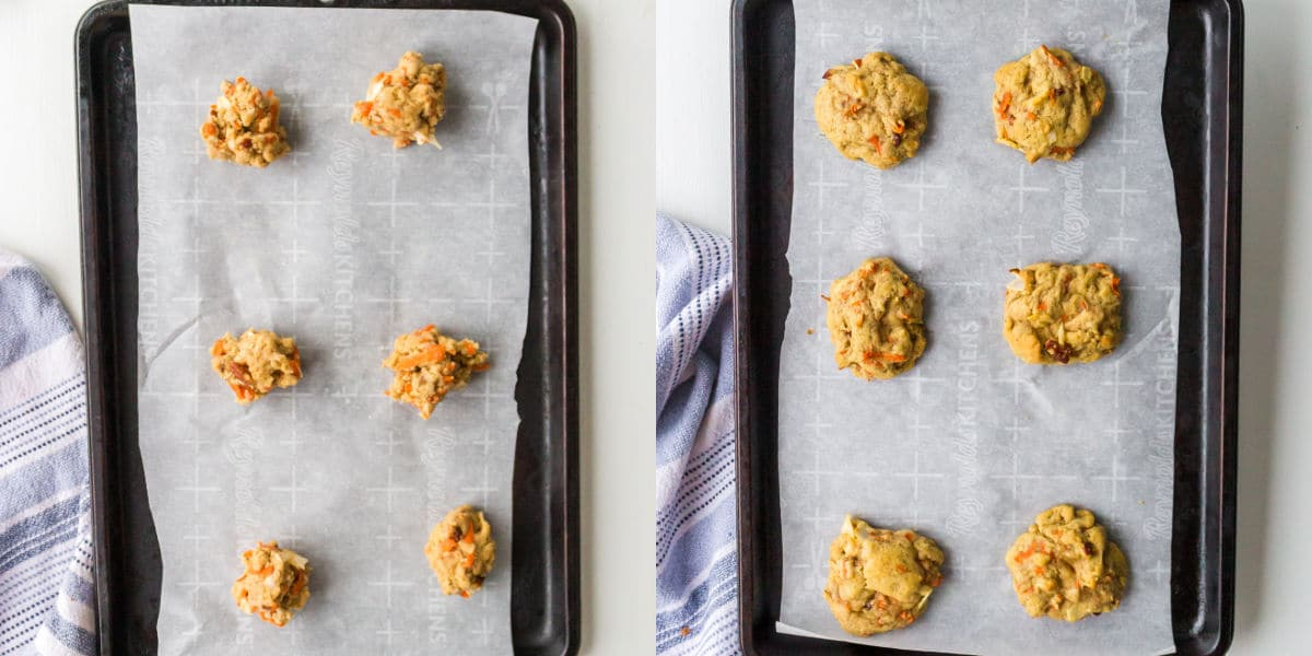 Carrot cake cookie dough on a cookie sheet.