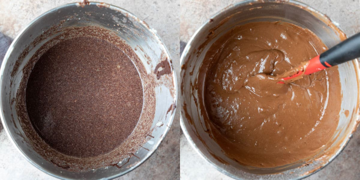 Chocolate mashed potato cake batter in a silver mixing bowl.