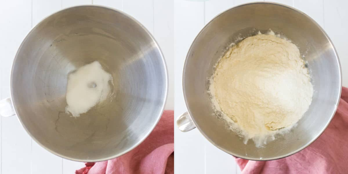 Yeast and sugar in a silver mixing bowl and flour in a silver mixing bowl.