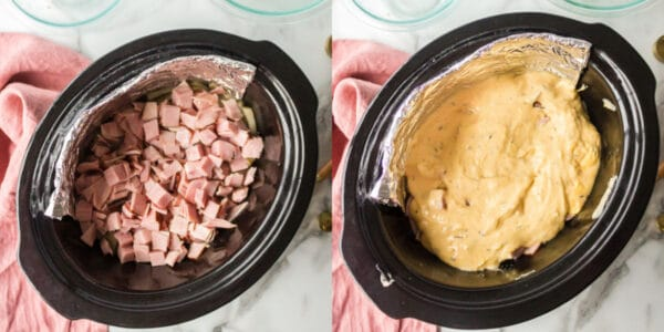 Diced ham and cheese sauce on potatoes in a slow cooker.