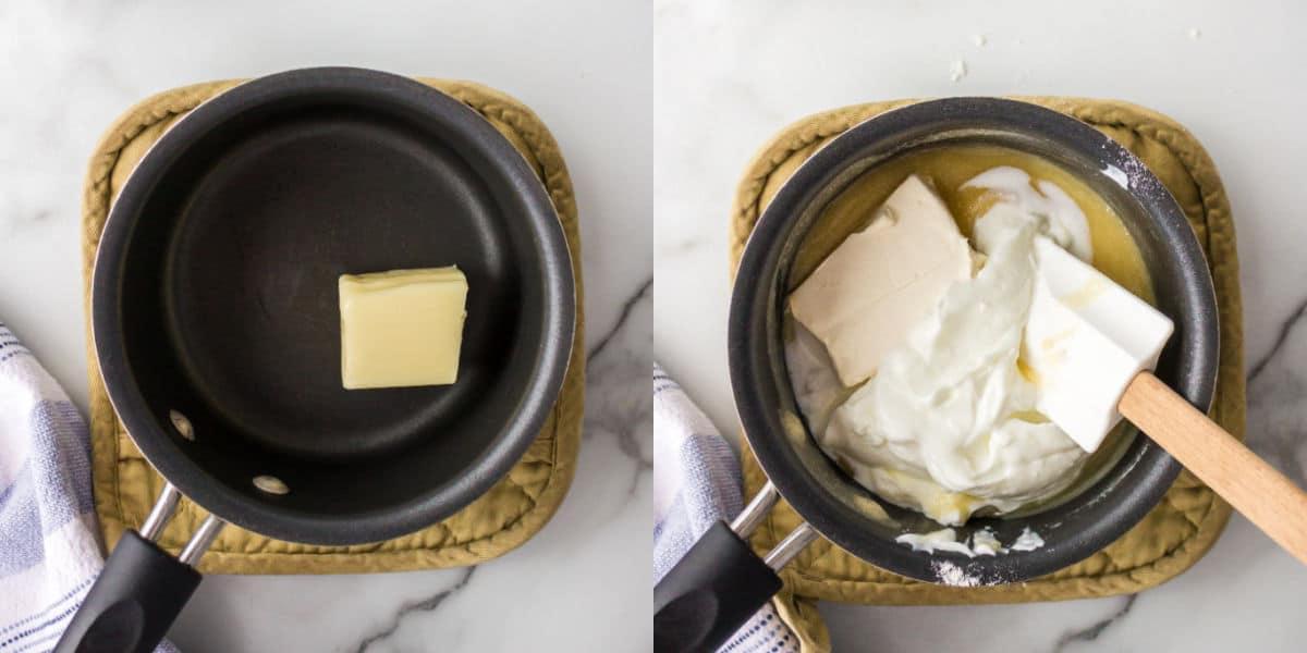 Butter melting in a saucepan.