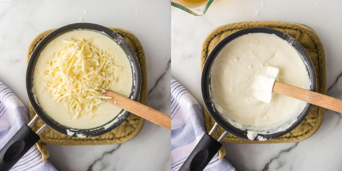 Cheese sauce in a saucepan.