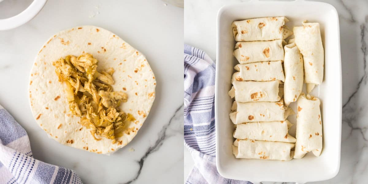 Chicken filling in the center of a tortilla.