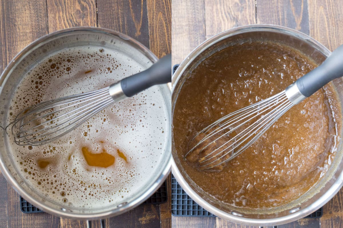 Saucepan of brown butter next to a saucepan of brown sugar and brown butter.