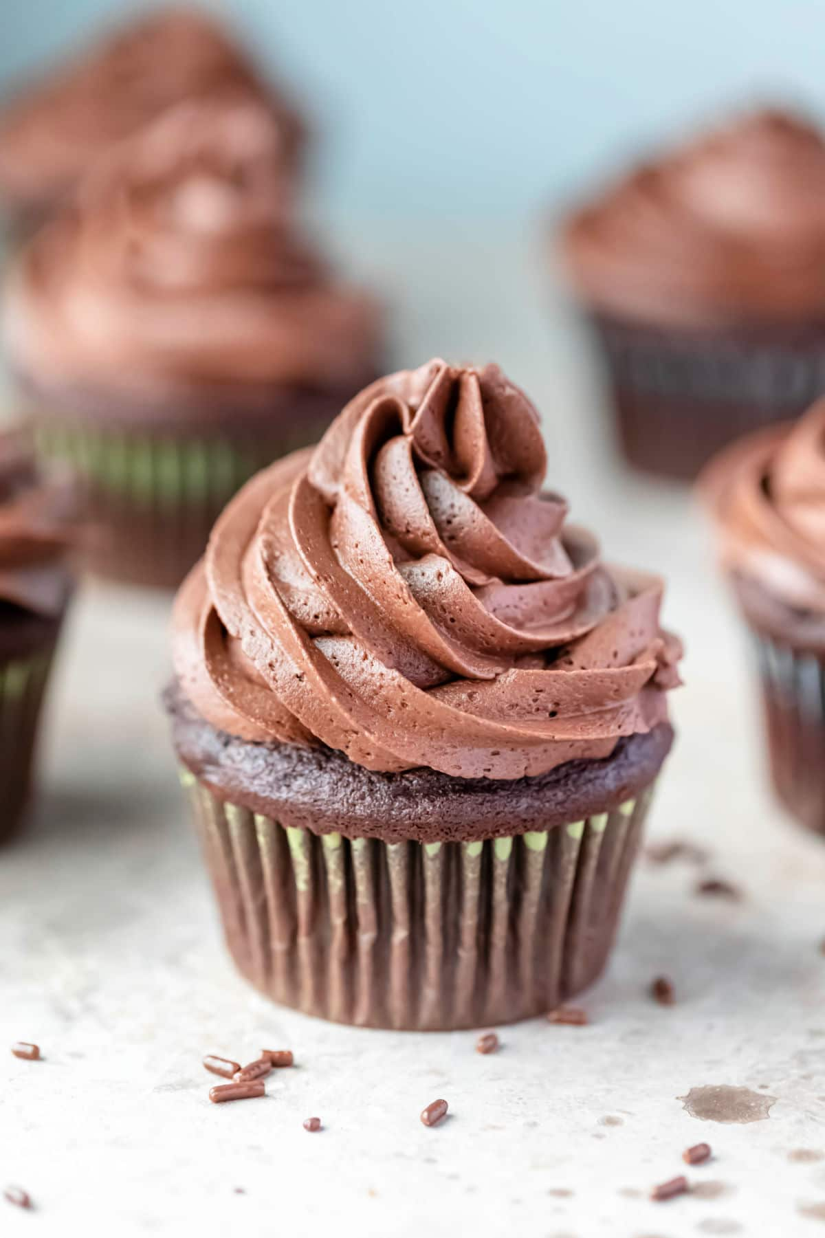 Chocolate cupcake surrounded by other chocolate cupcakes.