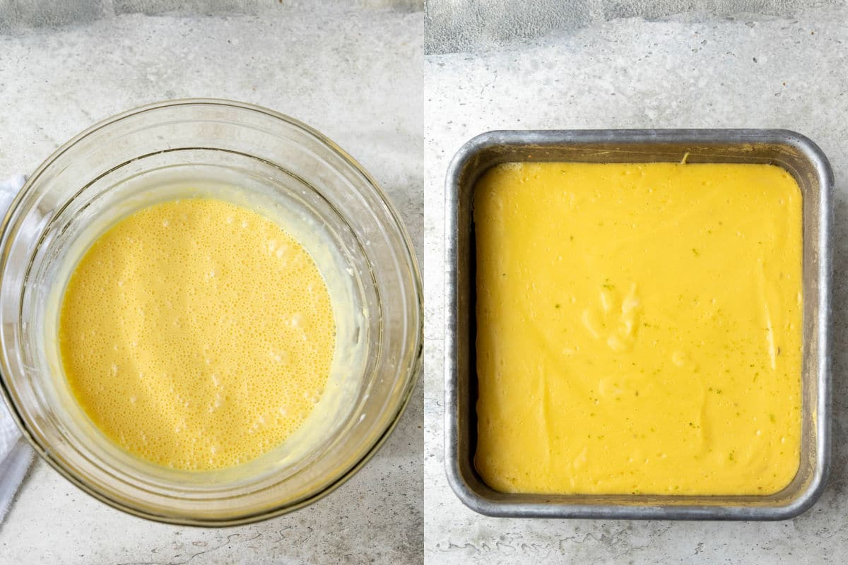 Side by side photos of key lime pie bar batter in a mixing bowl and the baked bars in a pan.