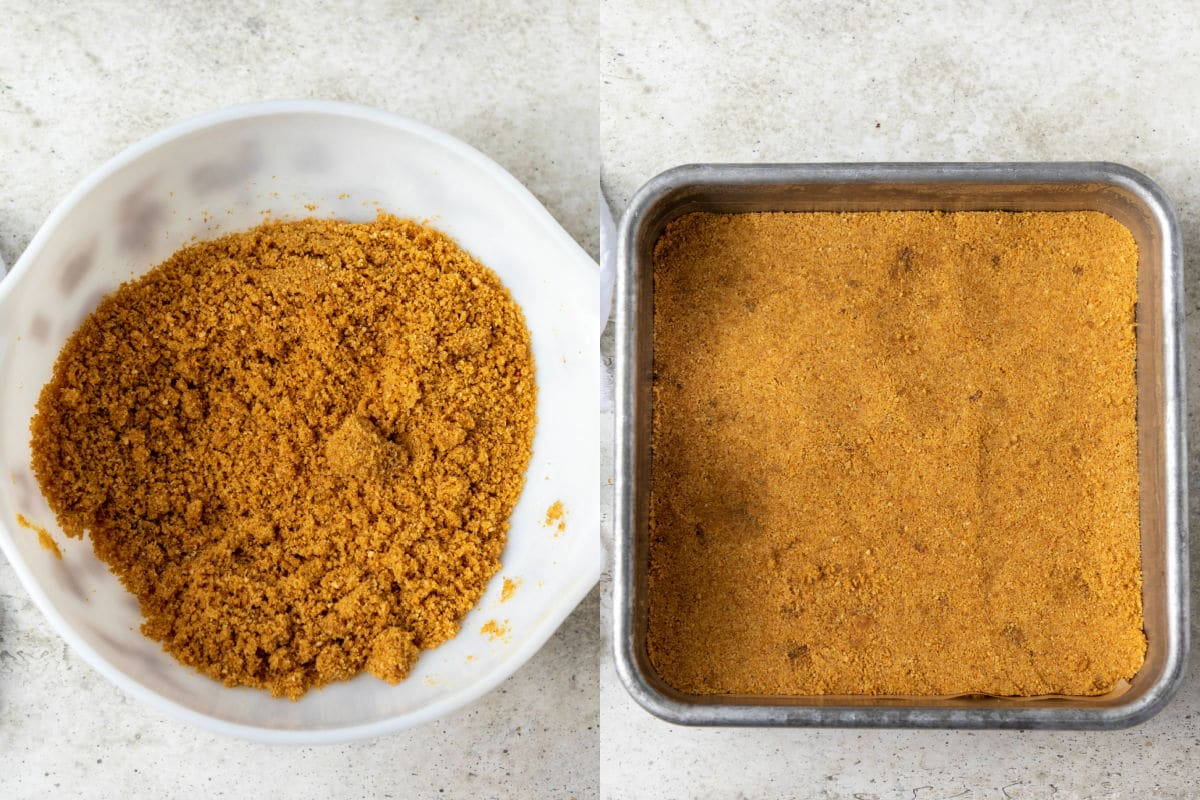Side by side photos of graham cracker crumbs in a mixing bowl and graham cracker crumb crust in a baking dish.
