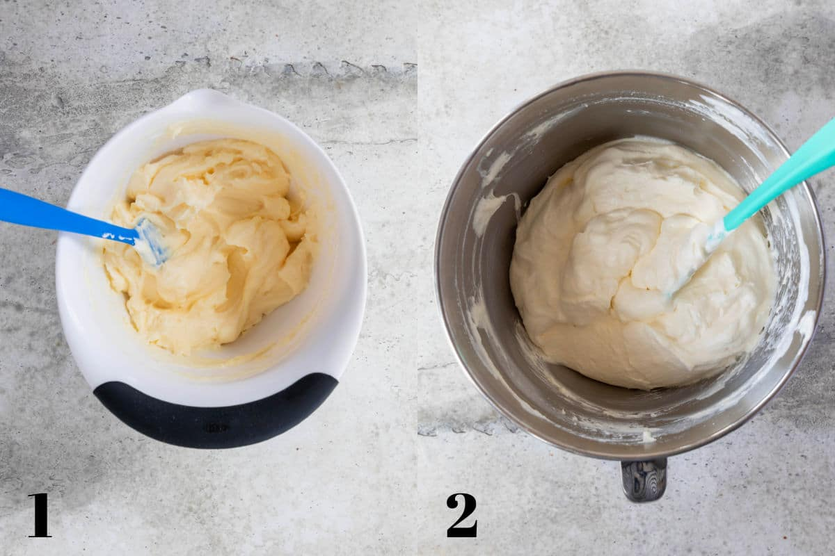 Side by side photos of pudding mix and milk in a mixing bowl and whipped cream in a mixing bowl.