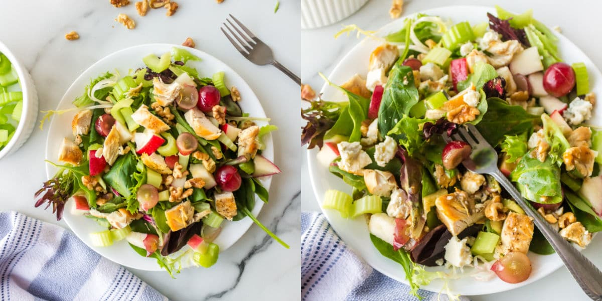 Side by side photos of a waldorf salad on a white plate.