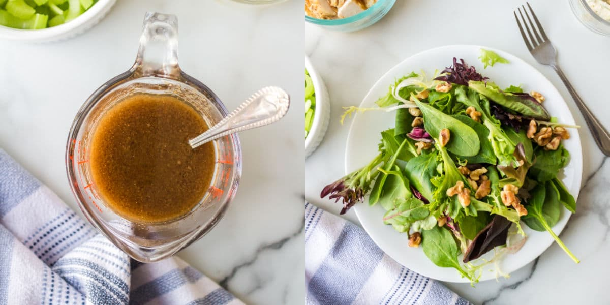 Photos of dressing in a glass measuring cup next to a plate of leaves topped with walnuts.