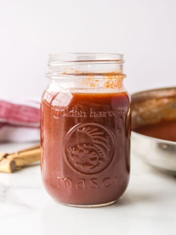 Dr Pepper barbecue sauce in a glass jar.