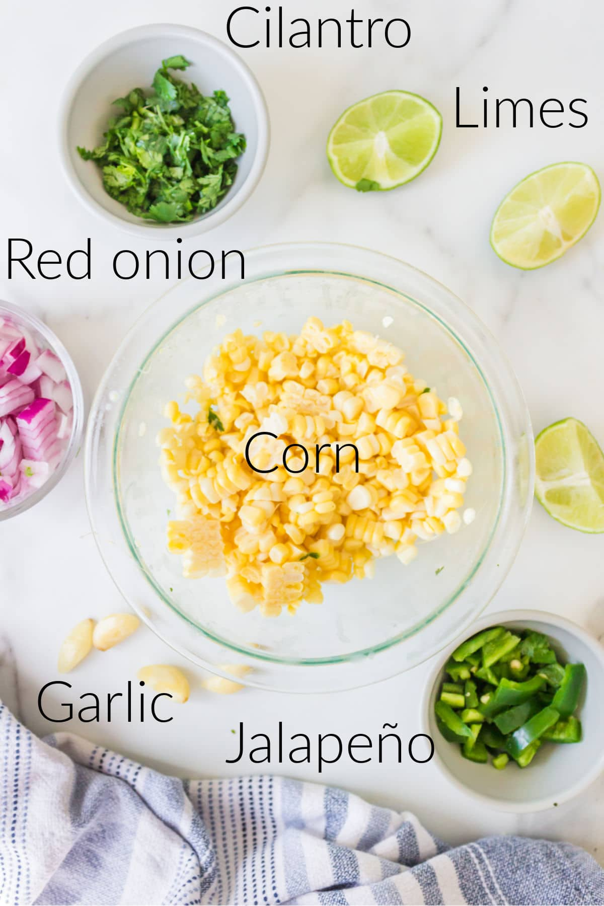 Labeled photo of fresh corn salsa ingredients in dishes.