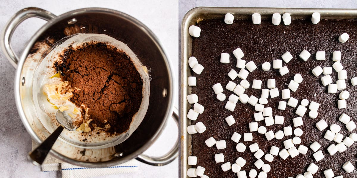 Side by side pictures of icing ingredients and marshmallows on a baked chocolate cake.