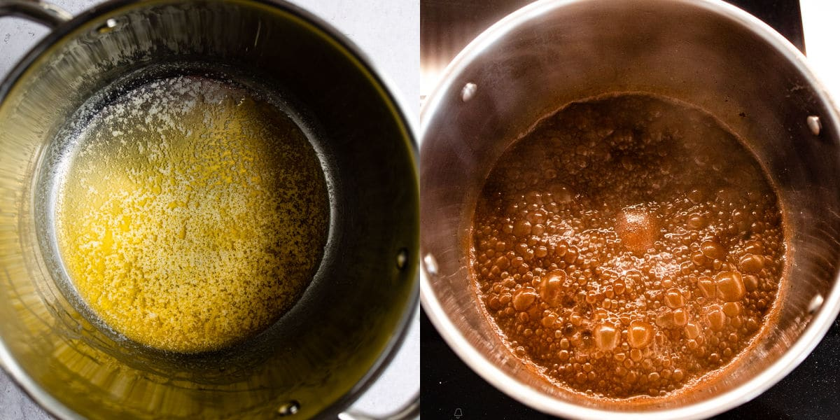 Side by side photos of melted butter and cocoa mixture in saucepans.