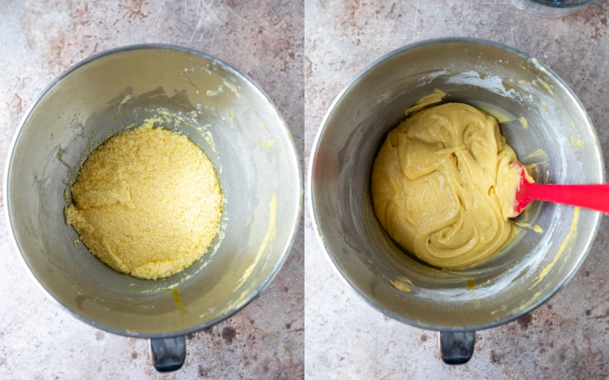 Side by side photos of blueberry muffin batter in a mixing bowl.