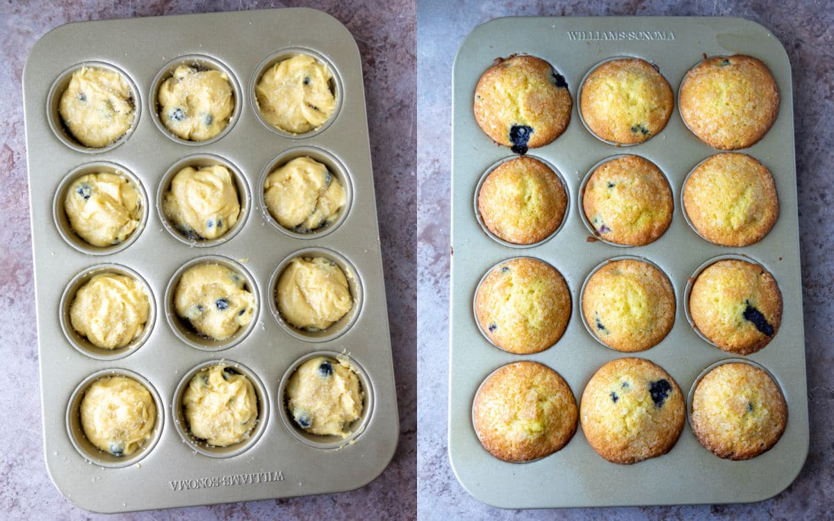 Side by side photos of unbaked and baked blueberry muffins.