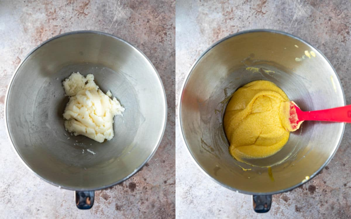 Side by side photos of creamed butter and creamed butter with eggs.