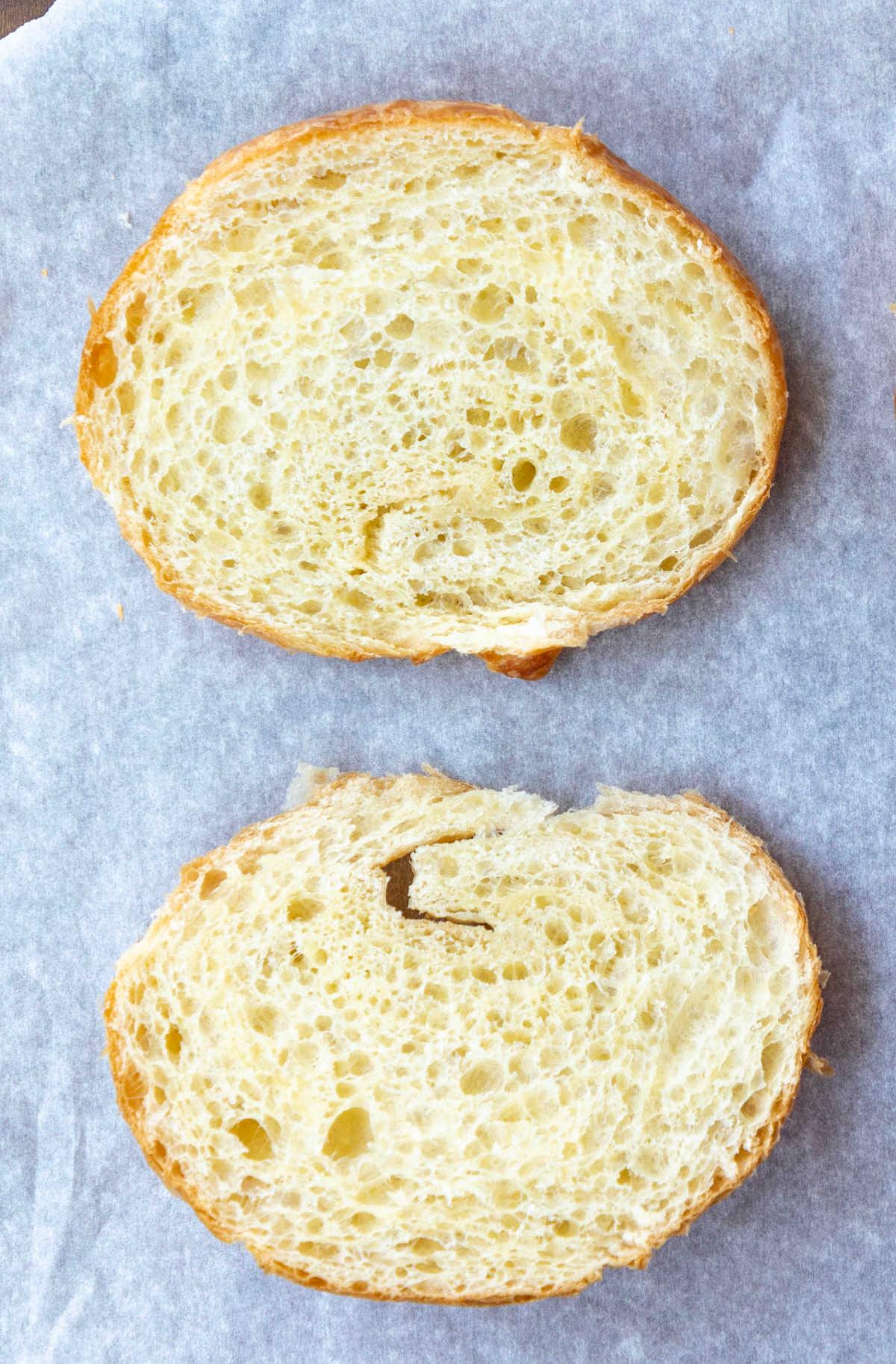 croissant sliced in half.
