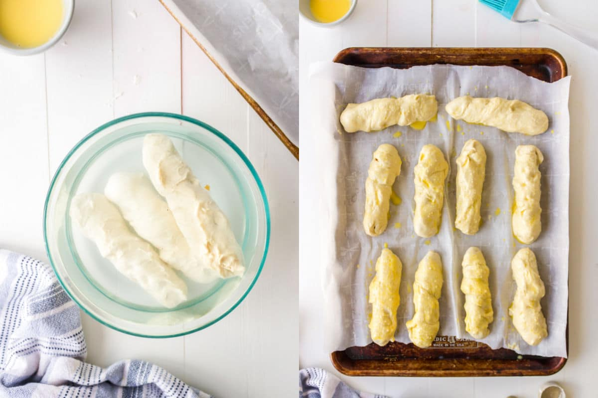 Side by side photos of pretzel dogs in a baking soda bath and on a baking sheet.
