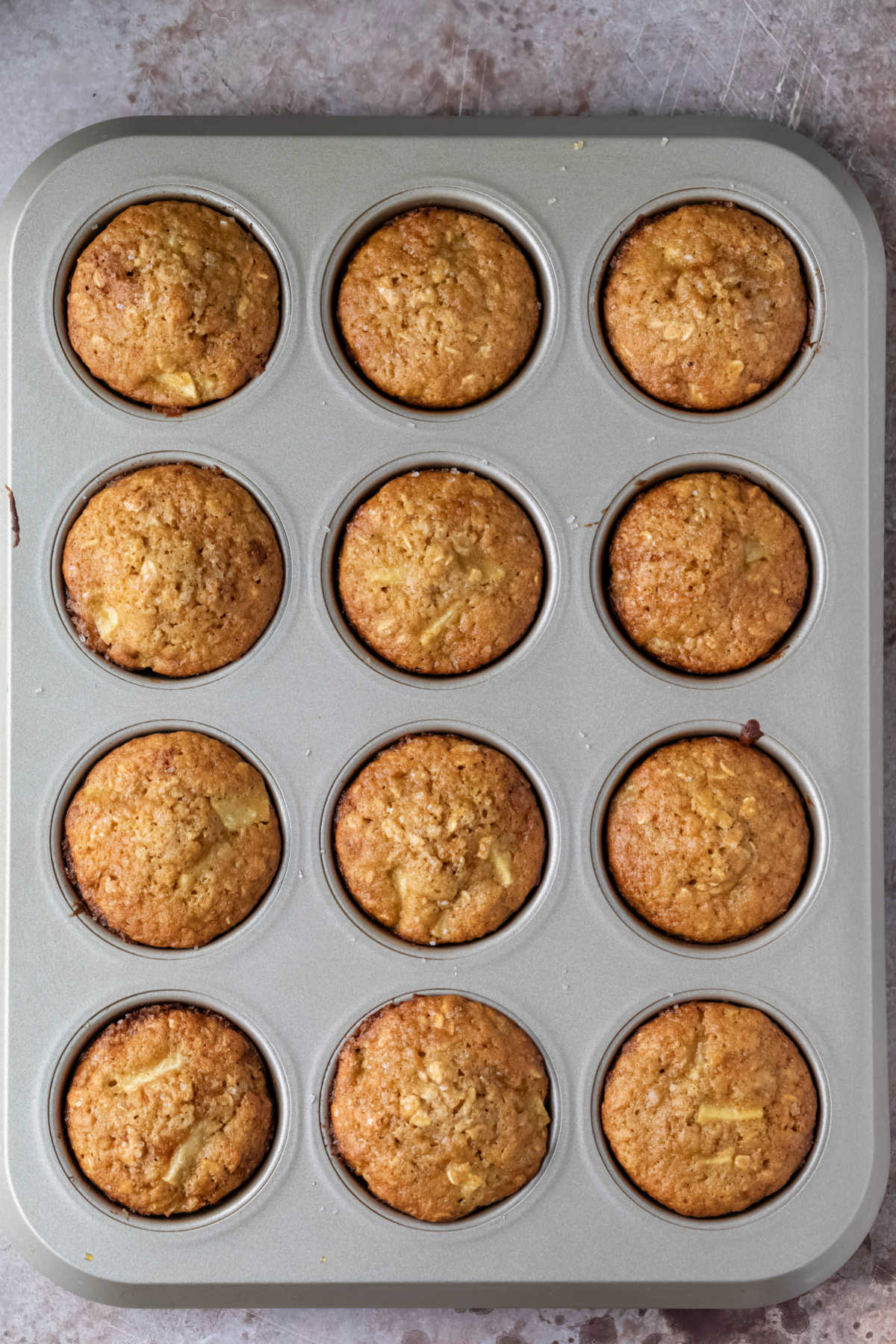 Baked muffins a muffin tin.