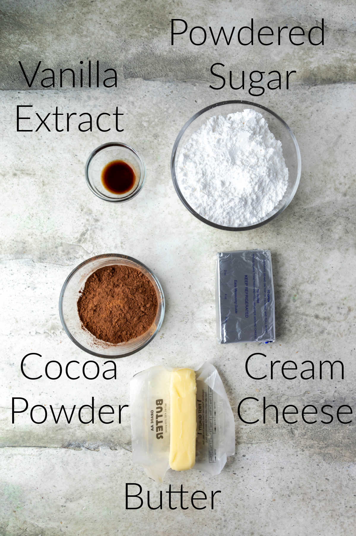 Ingredients for chocolate cream cheese frosting labeled with text.