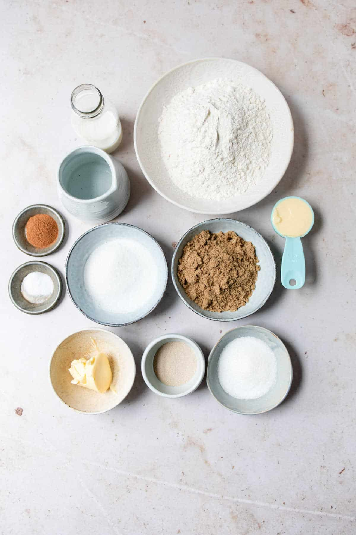 Ingredients for cinnamon twist bread in dishes.