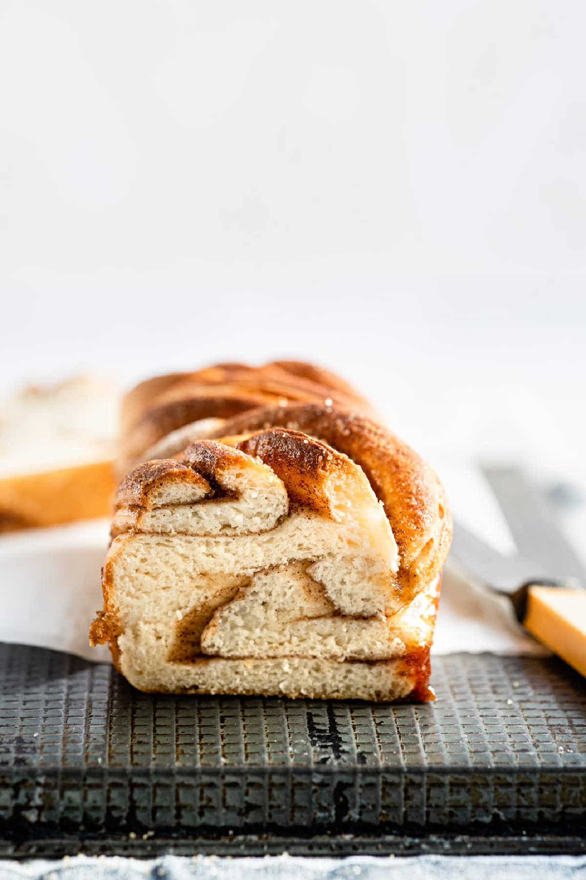 A loaf cinnamon twist bread with the end cut off