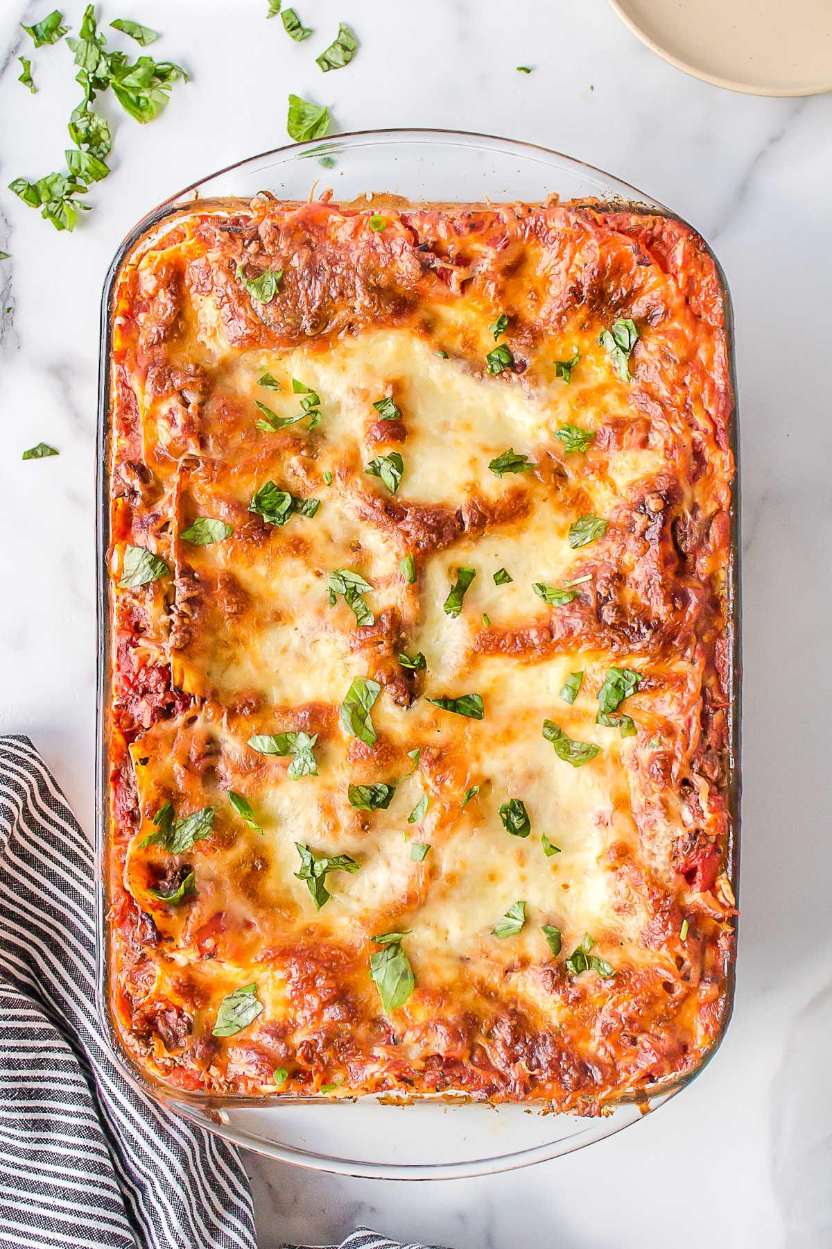 Baked freezer lasagna in a pan.